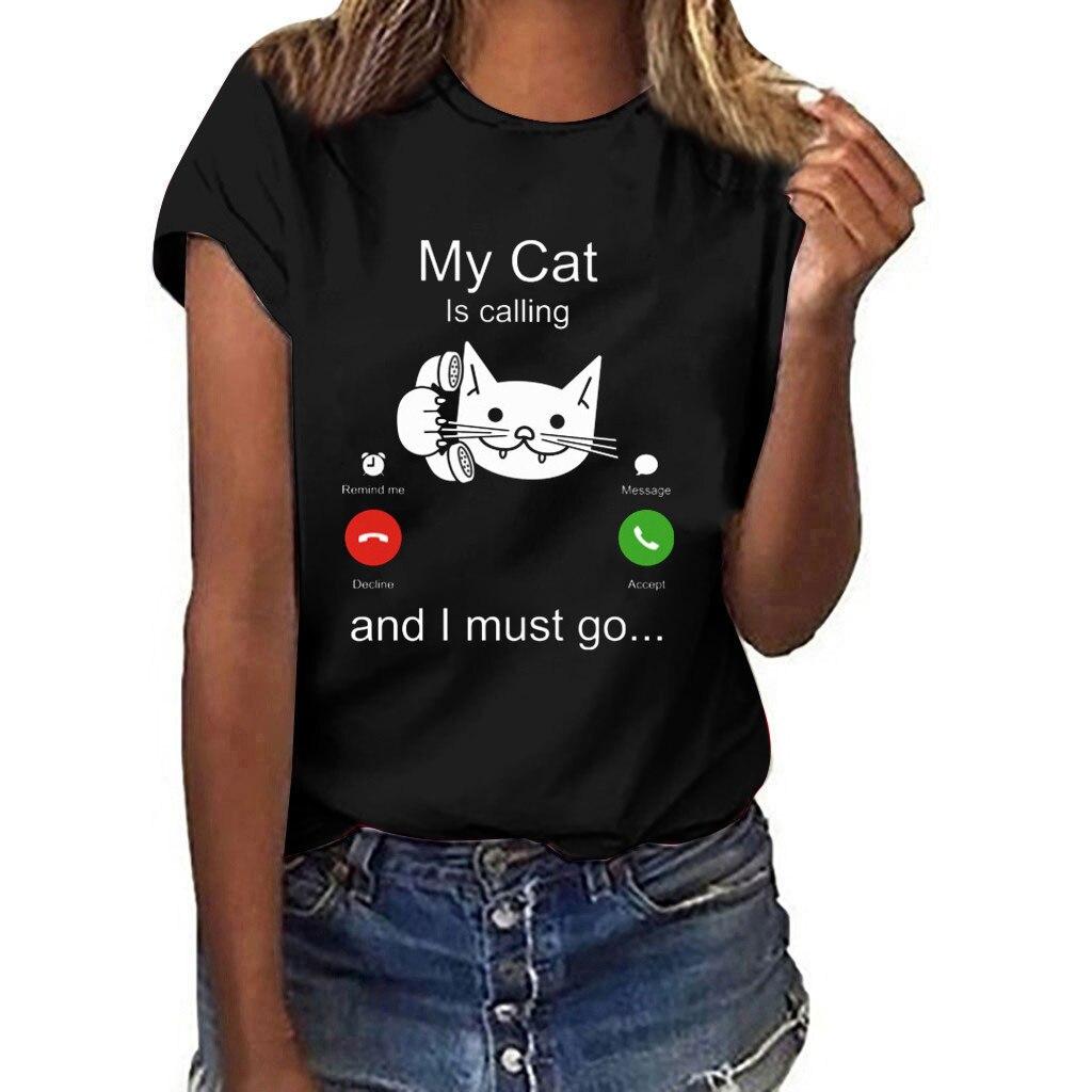 Women Fashion Casual Cat Print Short Sleeve O-Neck T-Shirt Top T Shirt Women Teenagers T-shirts Tops Summer Neck O neck Tees