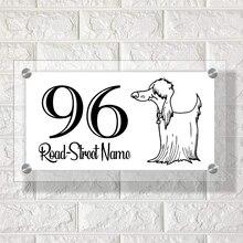 Afghan Hound Dog House Number Plaque Apartment number Modern Stand Off Door Address Number Sign office sign custom made 2 tile address plaque in grey