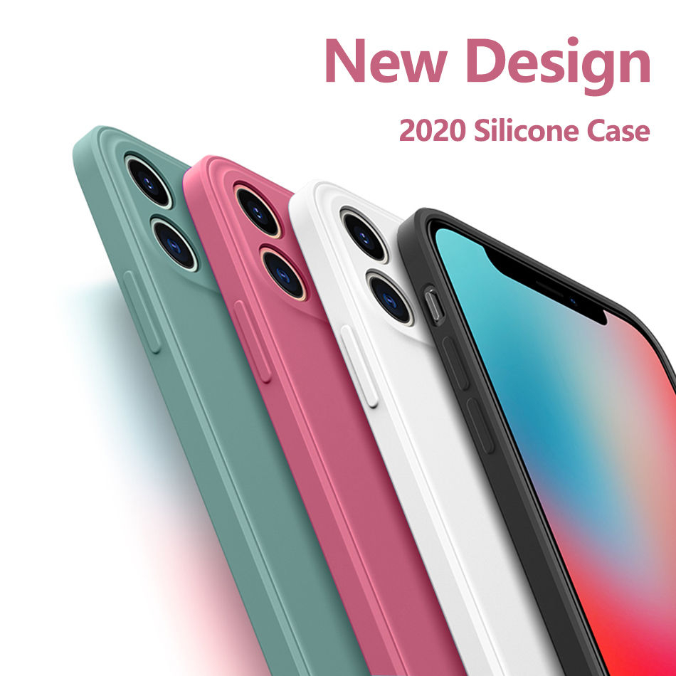 New Square Liquid Silicone Phone <font><b>Case</b></font> For <font><b>iPhone</b></font> 11 Pro Max <font><b>XS</b></font> SE 2020 <font><b>X</b></font> XR 6 6S 7 8 Plus <font><b>Original</b></font> Luxury Solid Color Soft Cover image