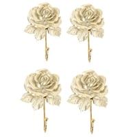 4Pcs Wall Mounted Vintage Dress Rose Hat Coat Hook Door Clothes Hanger Bathroom Towel Gold Hooks & Rails     -