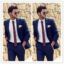 Красивый темно-синий смокинг для жениха, смокинг с отворотом, мужские свадебные смокинги, популярный мужской деловой пиджак для выпускного, Блейзер, костюм(пиджак+ брюки