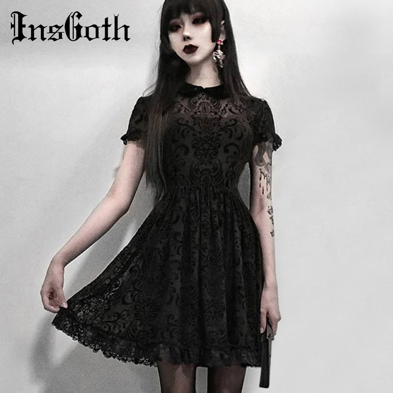 InsGoth Vintage Lace Dress Women Gothic Party Sexy Hollow Out Black Mini Short Sleeve Dress Harajuku Casual Female Mesh Dress