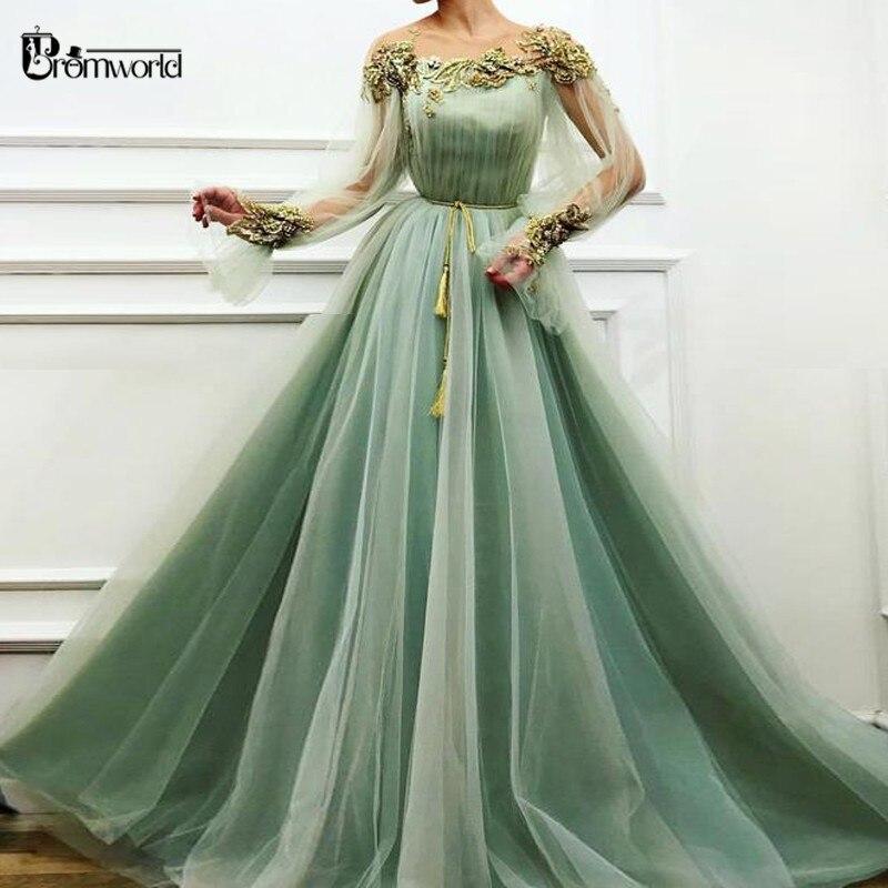 Mint Green Muslim Evening Dresses Long 2019 Full Sleeves A Line Tulle Plus Size Formal Evening Gowns Vestido De Festa Longo Prom