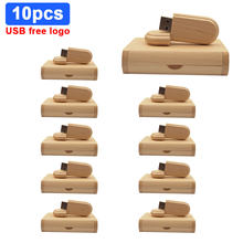 10pcs/lot USB 2.0 (free Custom LOGO) Wooden Usb with Box USB Flash Drive Pendrive 4GB 8GB 16GB 32GB 64GB Memory Stick for Gift