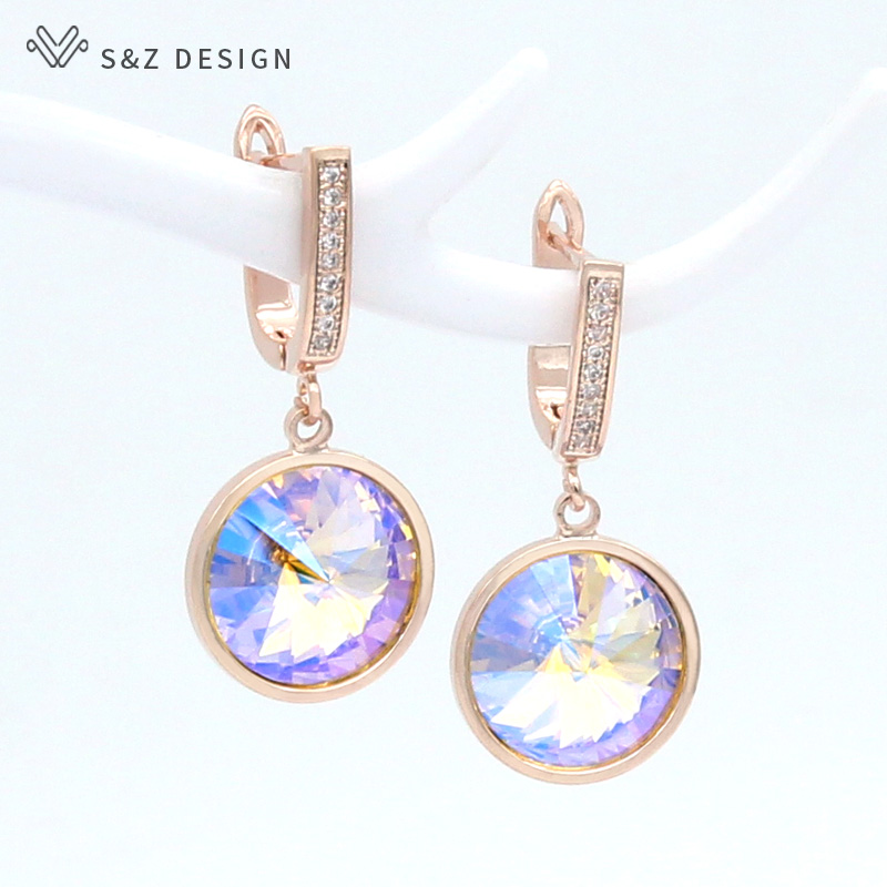 S&Z DESIGN Korean Luxury Elegant Colorful Round Crystal Dangle Earrings 585 Rose Gold White Gold For Women Wedding Jewelry