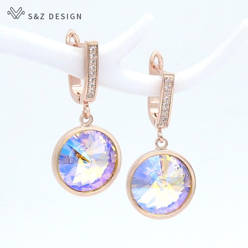 S&Z DESIGN Korean Luxury Elegant Colorful Round Crystal Dangle Earrings 585 Rose Gold White Gold For Women Wedding Jewelry