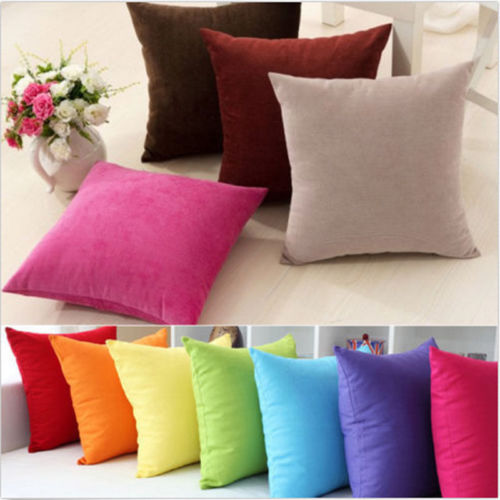 Fashion Throw Pillow Case Plain Cushion Cover Kids Couch Bed Sofa Decor Solid Free Shipping