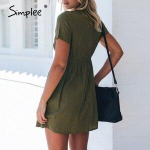Image 5 - Simplee Plus Size Nữ Váy Đầm Nút Cao Cấp Ngắn Tay Mùa Hè Chắc Chắn Dạo Phố Đi Biển Gợi Cảm Đầm Công Sở 2020
