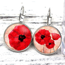 New Vintage Flower Pendant Earrings Coarse Plant Poppy Simple Glamour Woman Gift Souvenir Holiday Mother