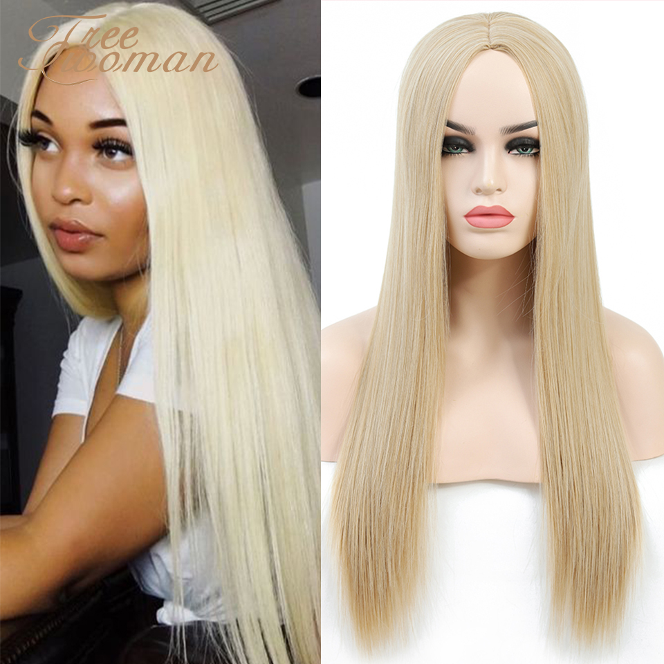 FREEWOMAN Long Straight Synthetic Wig For Women Blonde Natural Middle Part Hair Extension Heat Resistant Women's Wigs Fake Hair