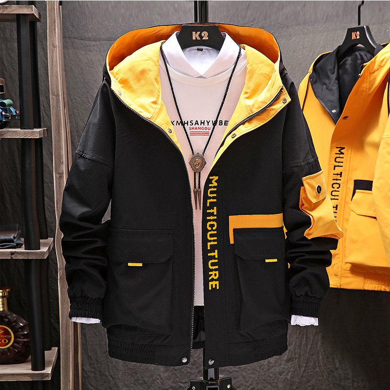 Windbreaker Mens Casual Clothing Lightweight Jacket Men 2019 New Arrival Hooded Contrast Color Zipper Up Jackets Outwear Hip Hop in Jackets from Men 39 s Clothing