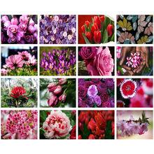 5d алмазная живопись «сделай сам» красный фиолетовый цветок