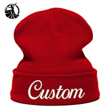 Beanie Hat Personalized Custom Embroidery LetterText Name Logo Knit Skullie Cap Slouchy Winter Autumn Women and Men Hat