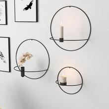 Candle-Holder Decoration Wall-Mounted Wedding-Table Geometric Metal Festival Round 3D