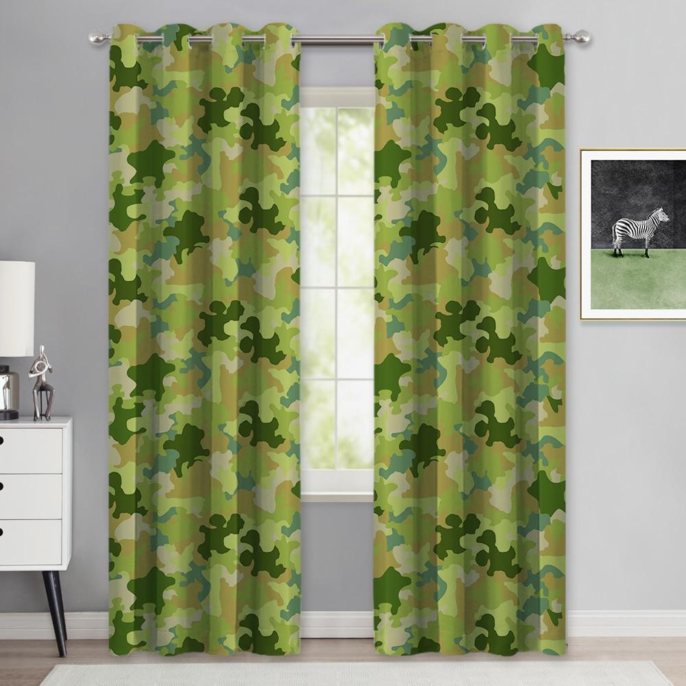 Nicetown 1pc camuflagem sombreamento isolamento térmico redução de ruído cortinas impressas grommet dormitório apartamento das crianças