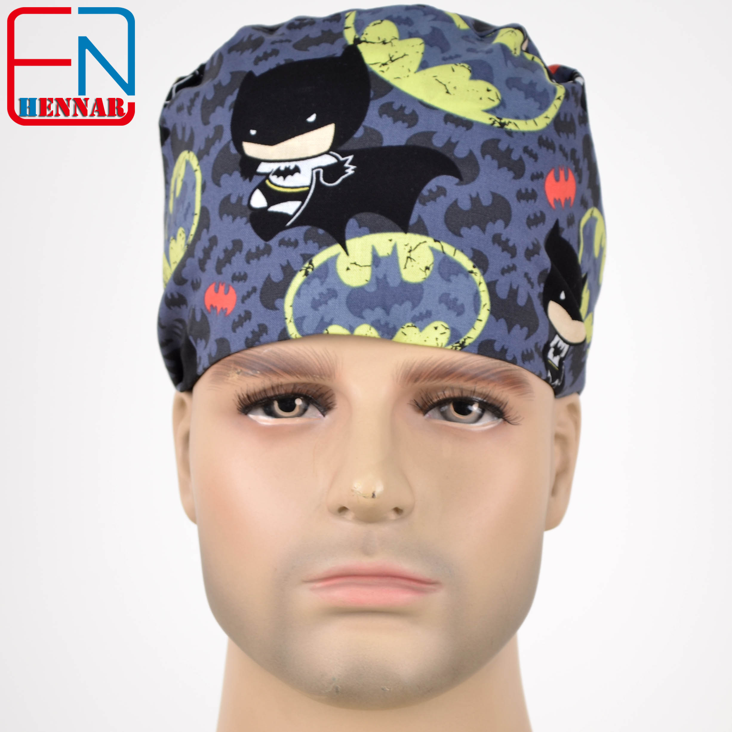 Hennar Men's Scrub Caps Masks 100% Cotton Adjustable Elastic Bands Surgical Scrub Caps Medical Hospital Doctor Headwear Cap Mask