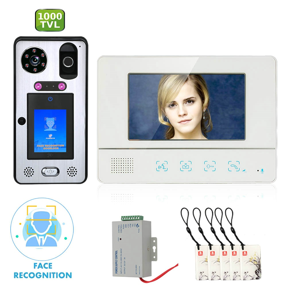 7 Inch  Video Door Phone Doorbell Intercom System With Face Recognition  Fingerprint RFIC Wired  1000TVL Camera