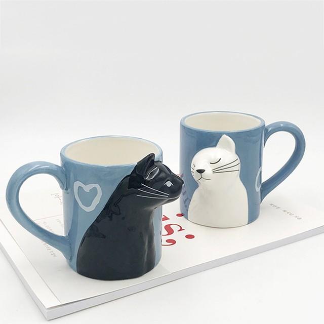 Cat Coffee Couple Mug set 4