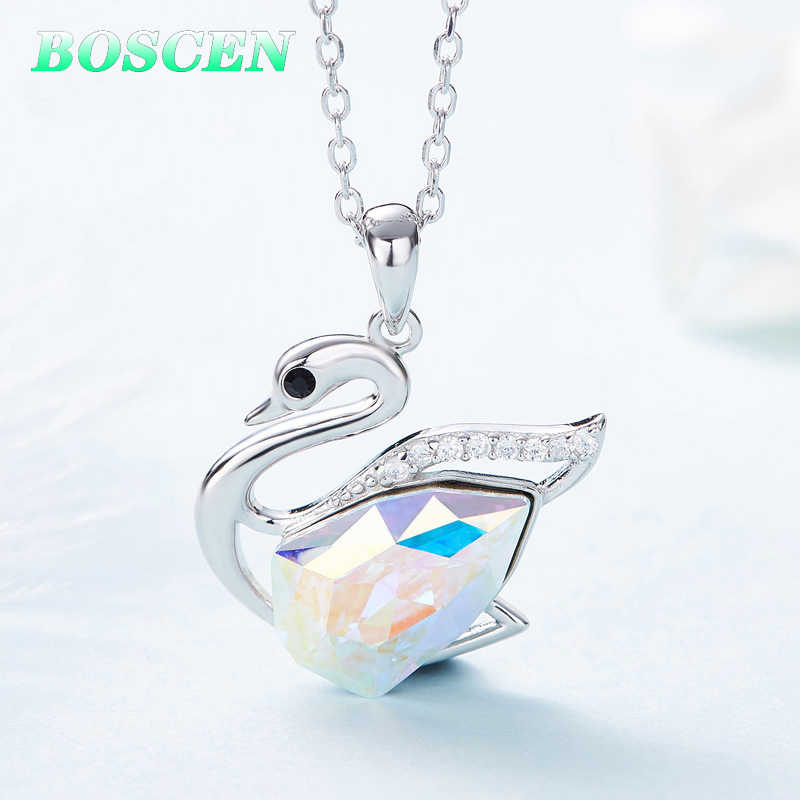 BOSCEN 925 Sterling Silver Pendant Necklace For Women Birthday Gift Colorful Swan Embellished With Crystals From Swarovski 2019