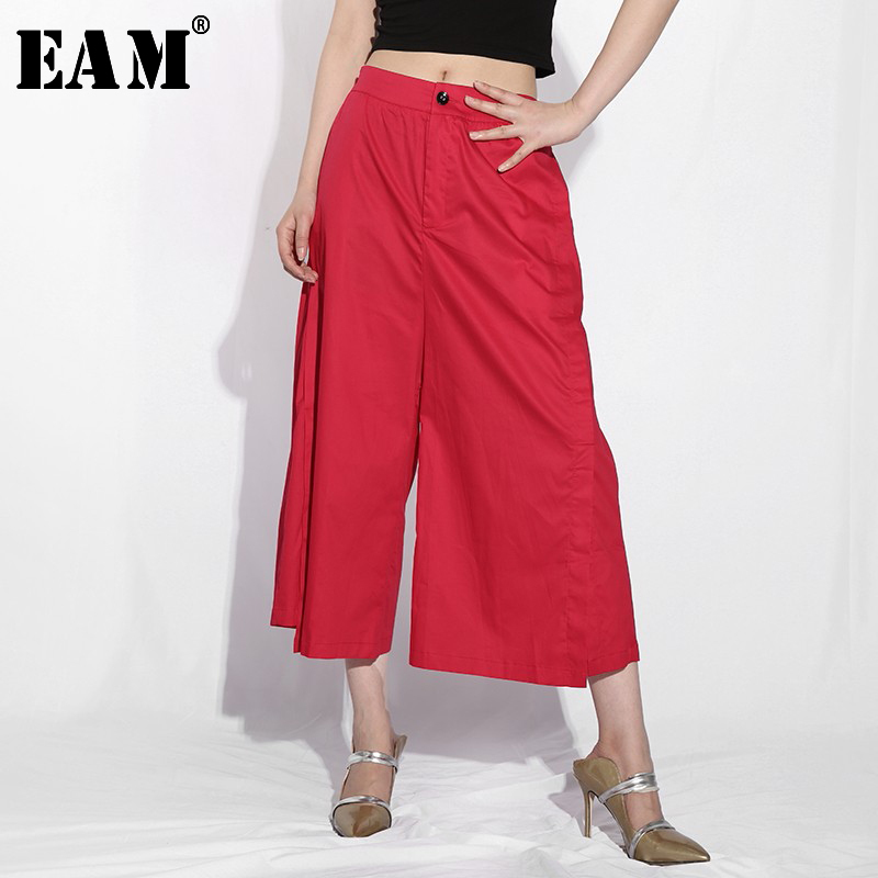 [EAM] High Elastic Waist Red Long Leisure Wide Leg Trousers New Loose Fit Pants Women Fashion Tide Spring Autumn 2020 YC949
