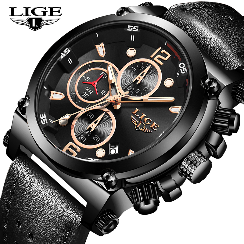 2020 LIGE Men Watches Top Brand Luxury Leather Business Quartz Watch Men Fashion Date Waterproof Chronograph Relogio Masculino