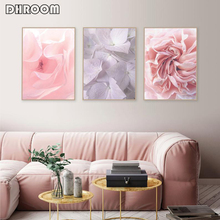 Flower Posters Prints Pink Roses and Hydrangea Petals Wall Art Scandinavian Canvas Painting Bedroom Decor Picture