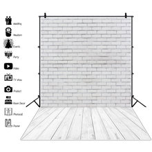 Laeacco белая кирпичная стена деревянный пол фон для фотосъемки