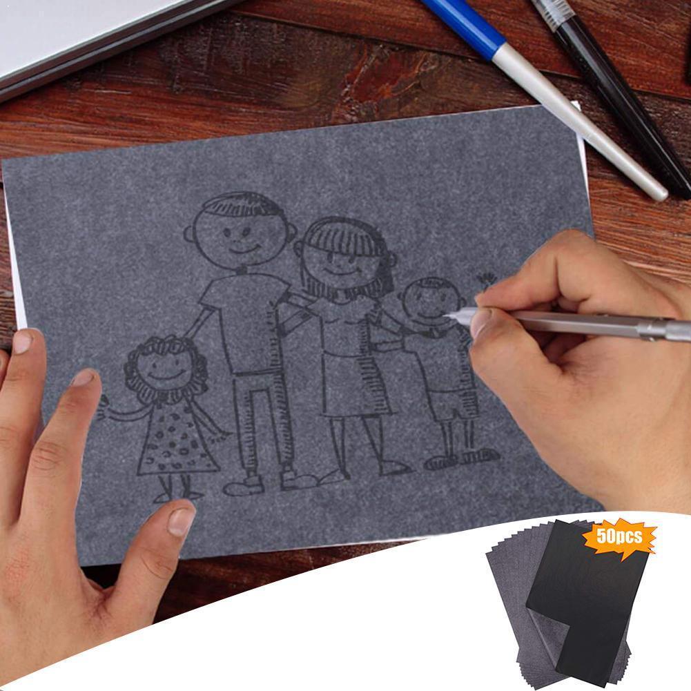 50Pcs/Set Black A4 Copy Carbon Paper Painting Tracing Reusable Graphite Accessories Legible Tracing Painting Painting Paper L3D8