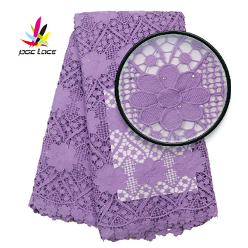 2020 Nigerian Hollow Embroidered Lace Fabric With Stones High Quality African Water Soluble Lace For Women Dress AMY3110B