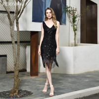Sexy Evening Dresses Short V Neck Sequin Lace Beaded Black Prom Dress 2020 with Tassel Evening Party Gown Robe de Soiree