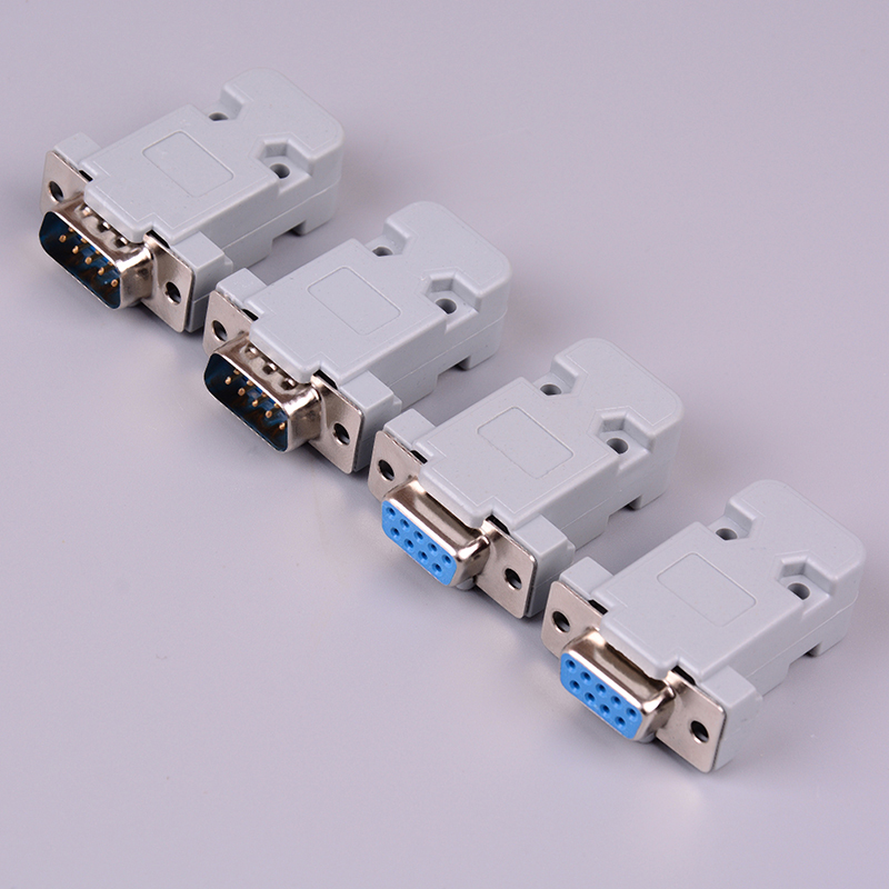 2set RS232 Serial Port Connector DB9 Female Male Socket Plug Connector 9 Pin Copper RS232 COM Adapter With Plastic Case