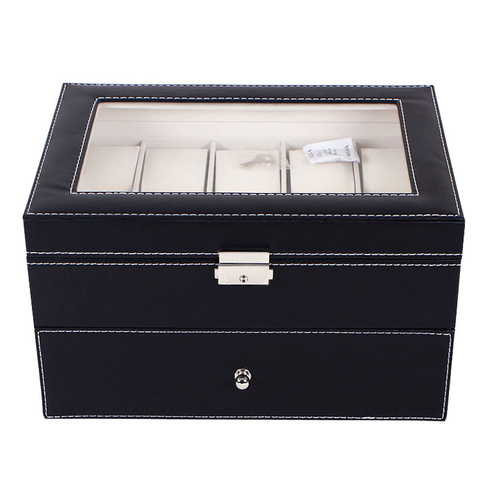 20 Grids PU Leather Watch Box Case Professional Holder Organizer For Clock Watches Jewelry Storage Boxes Case Display