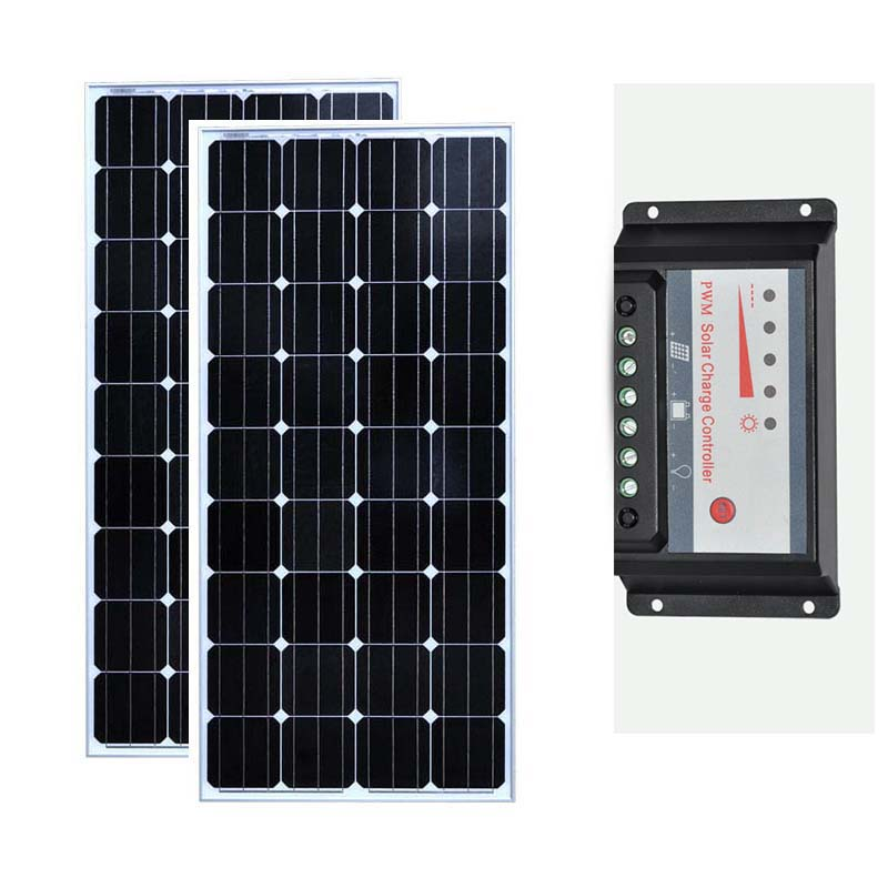 <font><b>Solar</b></font> <font><b>Panel</b></font> Kit 300w <font><b>Solar</b></font> Module <font><b>150w</b></font> 12v 2 Pcs <font><b>Solar</b></font> Charge Controller 12v/24v 30A <font><b>Solar</b></font> Charger Battery Rv Motorhomes Car LED image