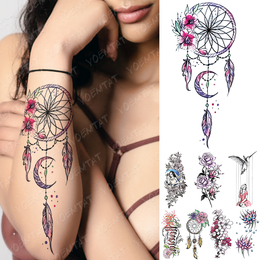 Waterproof Temporary Tattoo Sticker FLowers Dream Catcher Flash Tattoos Flowers Bird Rose Body Art Arm Fake Sleeve Tatoo Women