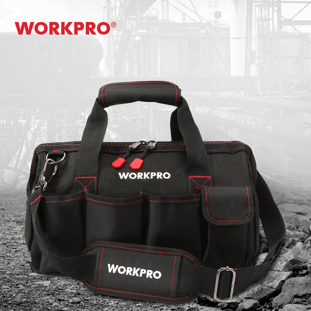 WORKPRO 12 inch Tool Bag 600D Polyester Electrician Shoulder Bag Tool Kits Bag Multi Bag Men Crossbody Bag for Tools 1