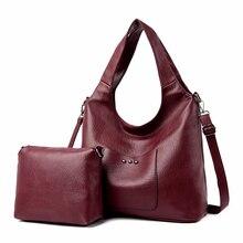 2 Pc/s Frauen Leder Handtaschen Hohe Qualität Geldbörsen Und Handtaschen 2019 Weibliche Weiche Leder Schulter Tasche Sac EIN Haupt Tote taschen Frauen