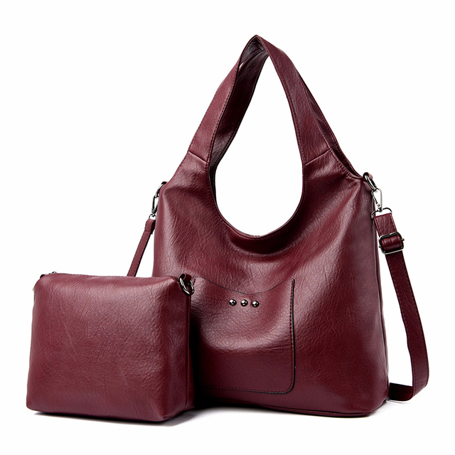 2/S 女性レザーハンドバッグ高品質の財布やハンドバッグ 2019 女性ソフトレザーショルダーバッグメイントートバッグ女性