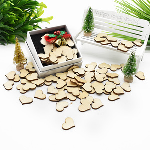 100pcs Blank Heart Wood Slices Discs Wood Heart Love Blank Unfinished Natural Crafts Supplies Wedding Ornaments diy gifts box
