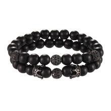 Черный матовый браслет из оксин камня с бусинами cz Аксессуары