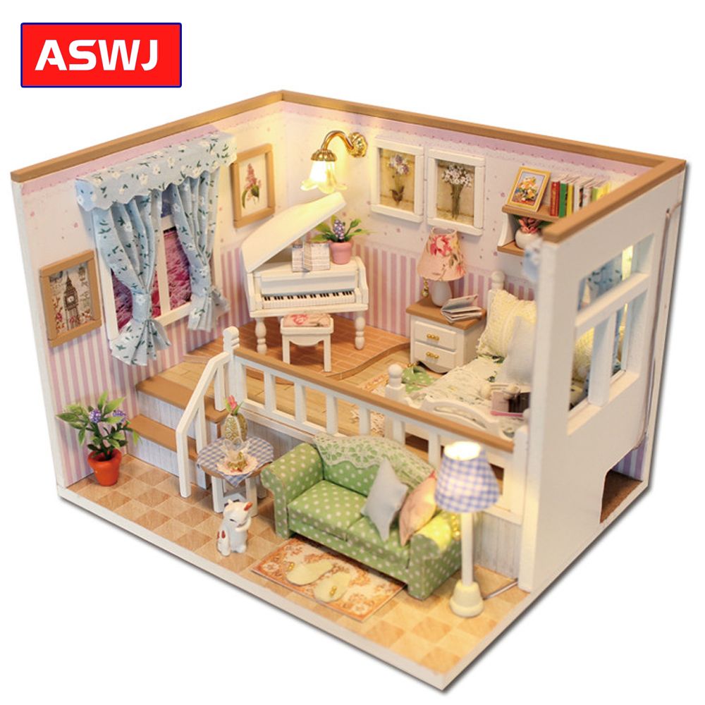 Doll House Miniature DIY Dollhouse With Furnitures Wooden House Stars Sky Toys For Children Birthday Gift Roombox