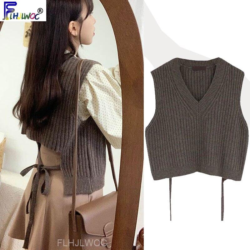 Winter Knitted Top Pullover V Neck Sleeveless Design Korea Japanese Preppy Style Girls Bow Tie Sweater Woolen Vest Vest 10327