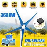 3600W 12/24/48V 5-Blade Wind Turbines Generator Horizontal-Axis AC Permanent Power Generator For Home,Streetlight,Boat use