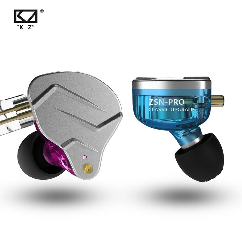 Наушники-вкладыши KZ ZSN Pro, гибридные технологии, 1BA + 1DD, HIFI, бас, металлические наушники, Спортивная гарнитура с шумоподавлением, монитор