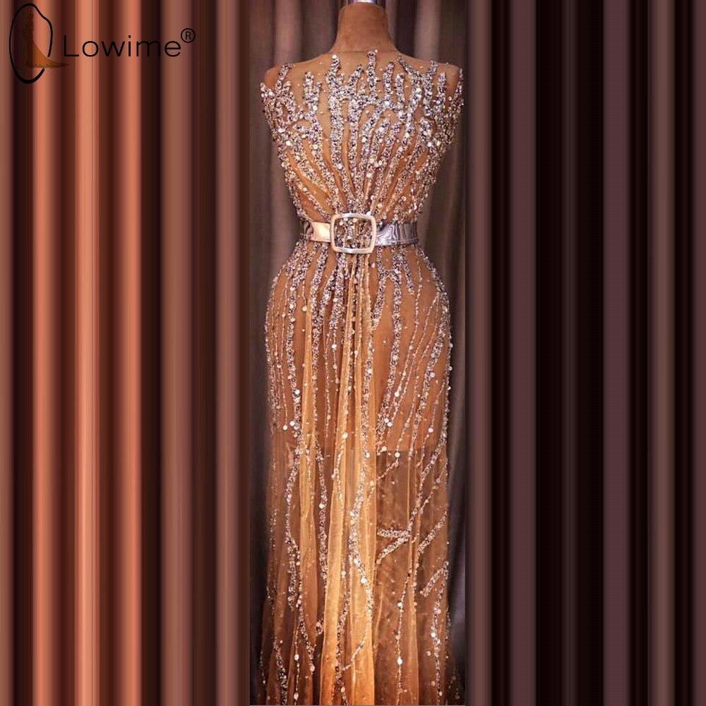 Robe De Soiree Champagne Evening Dresses Luxury Sparkly Beading Middle East Saudi Arabia Prom Party Gowns Vestido De Festa