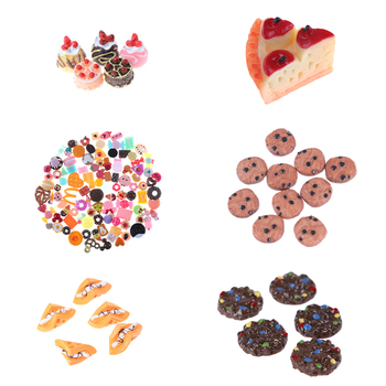 1/3/5/6/10pcs Hot Sale Mini Play Toy Fruit Food Cake Candy Fruit Biscuit Donuts Miniature For Dolls Accessories Kitchen Play Toy image