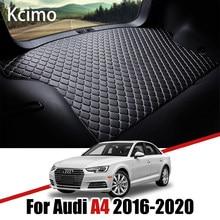 Skóra mata bagażnika samochodowego dla Audi A4 B9 8W 2016 2017 2018 2019 2020 Sedan A4L Avant bagażnika mata stolnica z podziałką poduszka ładunkowa mata do wyłożenia podłogi bagażnika