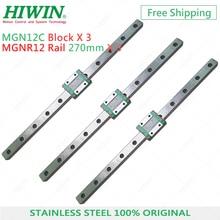 Trasporto Libero 3 pcs HIWIN MGN12 lineari della guida di 270 millimetri con MGN12C blocco in acciaio inox per 3D Stampante