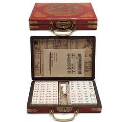 Mah-Jong Chinese Numbered Mahjong Set 144 Tiles Mah-Jong Set Portable Chinese Toy with Box Party Gambling Game Board