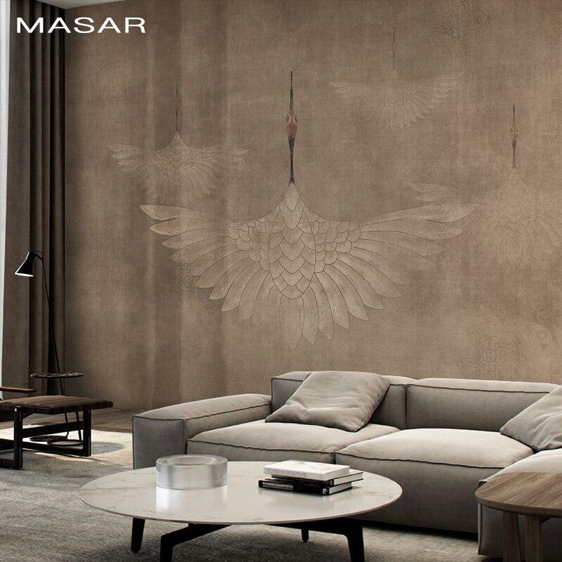 MASAR Original couleur pure grue, mural lit canapé TV fond mur papier peint protection de l'environnement étanche