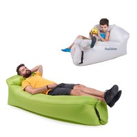 Outdoor Inflatable Beach Lounger Couch Air Mattresses Hammock with Backrest Portable Air Sofa Chair Bed Indoors Outdoors